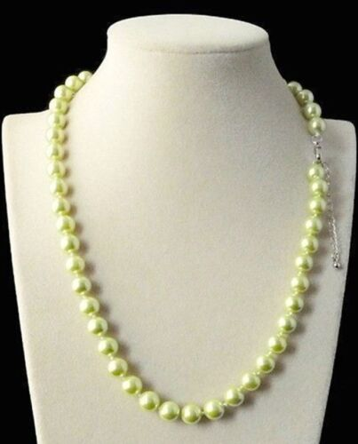 LONG 25 in 8 mm VERT CLAIR Akoya Shell Pearl PERLES rondes Collier AAA environ 63.50 cm