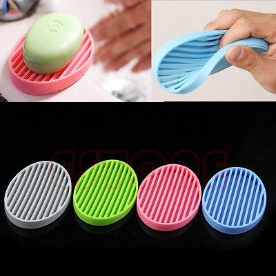 Fashion Silicone Flexible Soap Dish Plate Bathroom Soap Holder