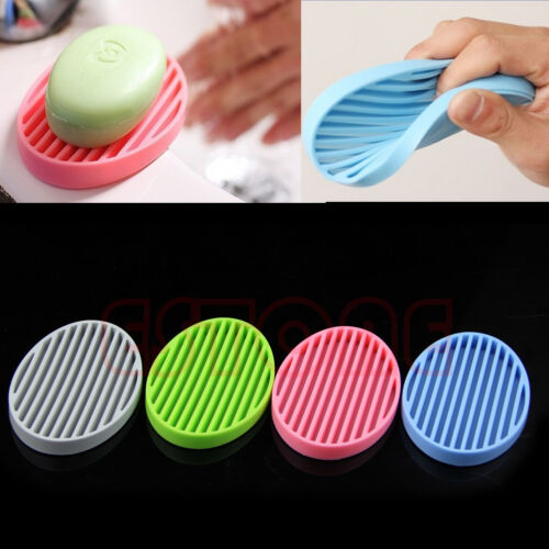 Flexible Bathroom Silicone Soap Dish Storage Holder Soapbox Plate Tray Drain New