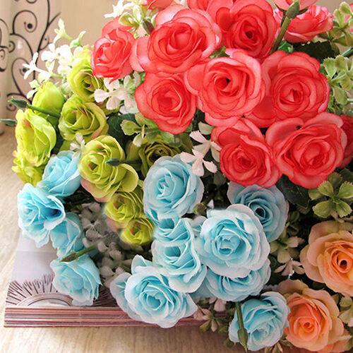 AM/_ AC/_ 15 HEADS ROSE BOUQUET FAKE SILK FLOWER PARTY HOME WEDDING FLORAL DECOR C