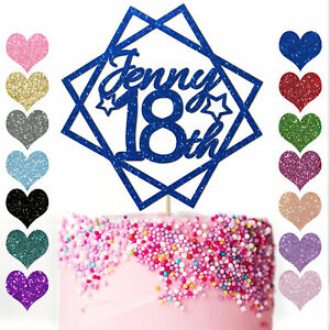 Personalised-Square-Cake-Topper-Birthday-16th-18-21-30-40-50-14-Colour-Glitter