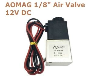 AOMAG 1//8 2 Way Normally Closed Pneumatic Aluminum Electric Solenoid Air Valve 12V DC