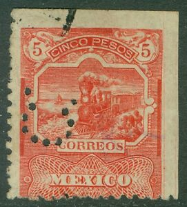 MEXICO-1895-Scott-255-Trains-VF-Used-with-additional-Scarce-Perfin-Cat-190