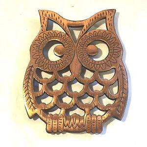 Image Is Loading Vtg MCM Cast Iron Owl Trivet Wall Art