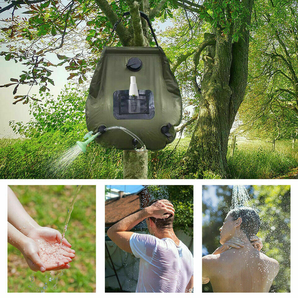 20L Solar Camping Shower Bag Heated Water Storage Pipe Outdoor Travel Portable