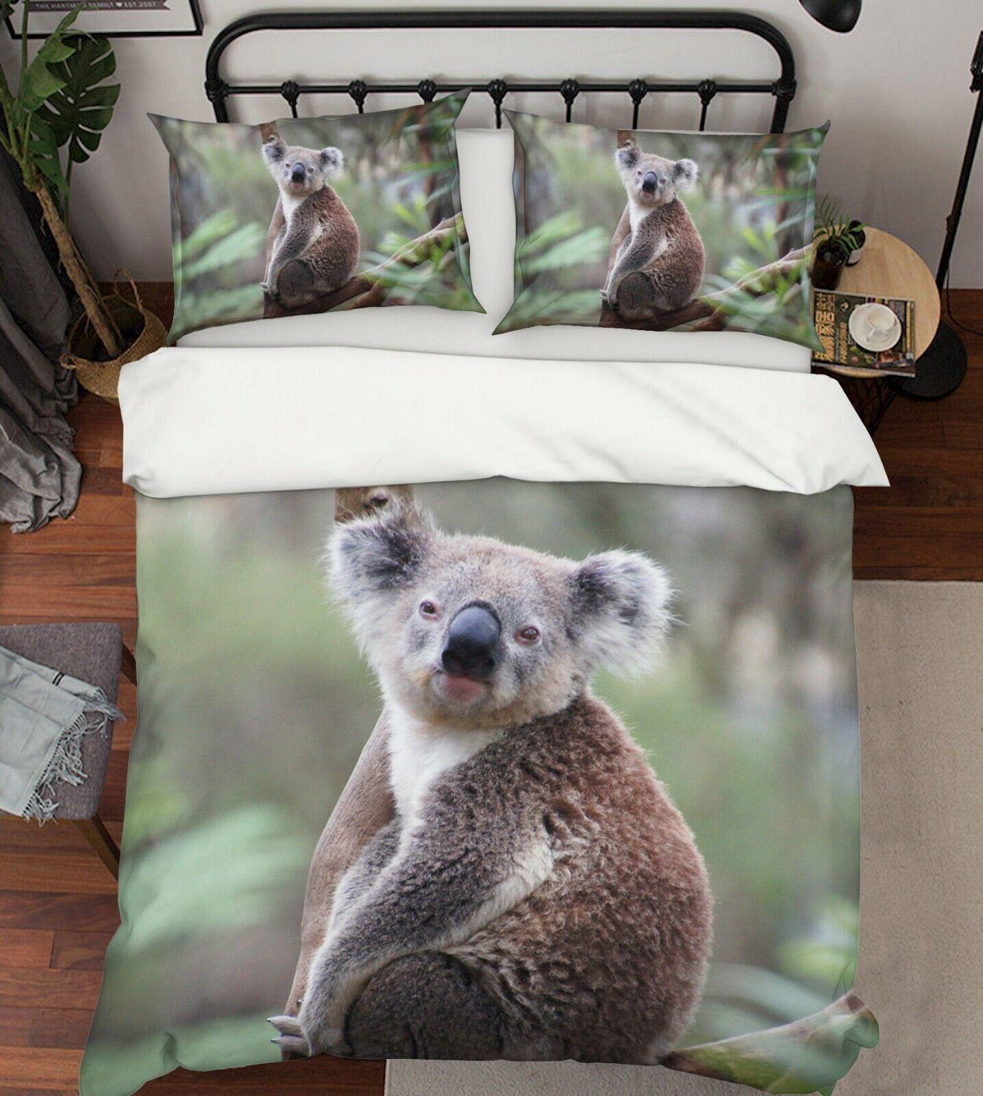 3D Koala Cute G68 Animal Bed Pillowcases Quilt Duvet Cover Set Queen King Wendy