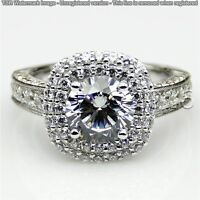 Unique 1.91 CT Off White Yellow Real Moissanite Ring Wedding 925 Silver Ring 13