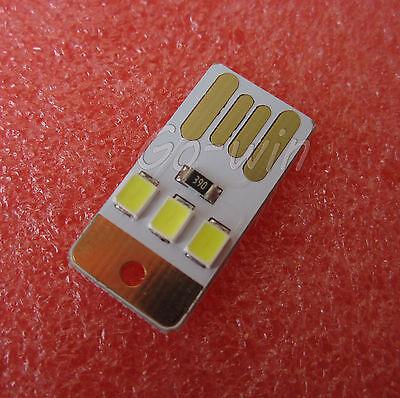 2PCS Mini White LED Night Light Pocket Card Lamp Led Keychain Portable USB
