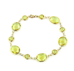 Fine Jewelry 14K Yellow Gold Round Gemstones Bracelet 7.5 Inches