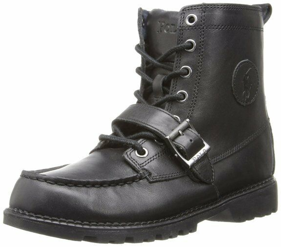 POLO RALPH LAUREN RANGER Hi II Stiefel. BLACK LEATHER, LEATHER, LEATHER, SIZE 6 UK 39.5 EU, NEW bf38bf