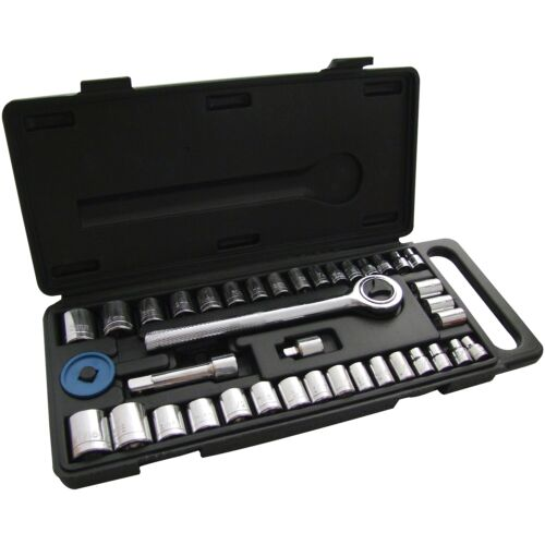 40pc 1/4 & 3/8 Socket Driver Set Metric Imperial Ratchet Bolts Spark With Case