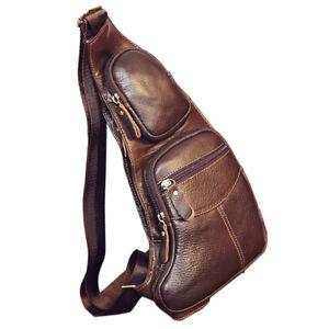 737048a3d38a Image is loading Men-Vintage-Leather-Chest-Sling-Bag-Travel-Backpack-