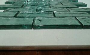 aqua subway tile distressed sea glass wavy spa kitchen