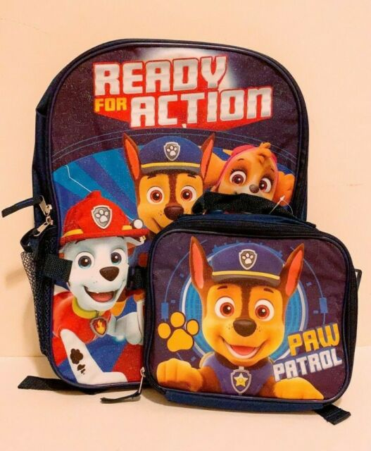 Nickelodeon Boy Paw Patrol 16 Backpack With Detachable Matching Lunch Box