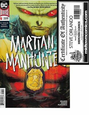 Martian Manhunter #1 signed by Steve Orlando MIDTOWN COMICS COA NM
