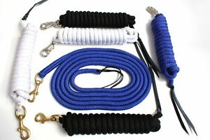 Bodenarbeit Leine 4,2m in blau, schwarz, weiß mit Bullsnap oder Karabiner