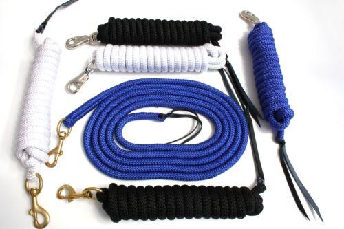 schwarz Bodenarbeit Leine 4,2m in blau weiß mit Bullsnap oder Karabiner