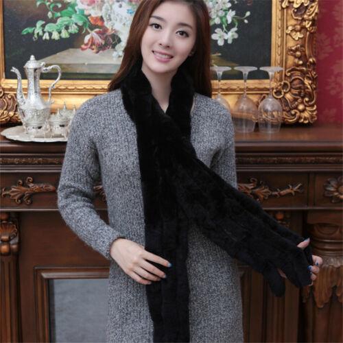 Real Grey Rex Rabbit Fur Scarf//Collar//Stole//Shawl//Warm Scarves Winter Women Girl