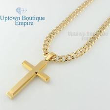 "24-36"" men stainless steel Plain Silver Gold cross pendant cuban Necklace Chain"