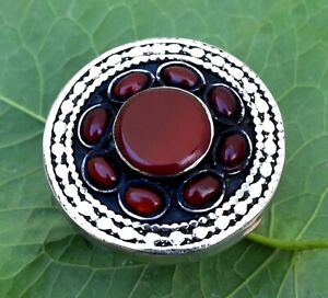 Red Carnelian Stone Ring Afghan Kuchi Tribal Carved Jewelry German Silver Ethnic