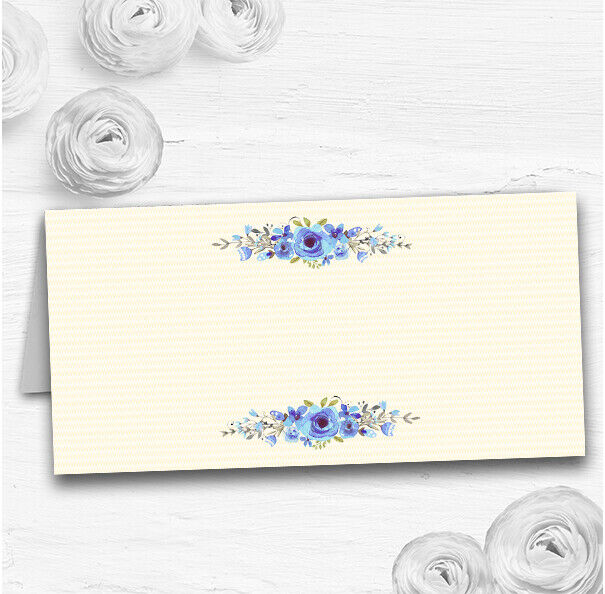 Watercolour Blau Floral Rustic Wedding Table Seating Name Place Cards