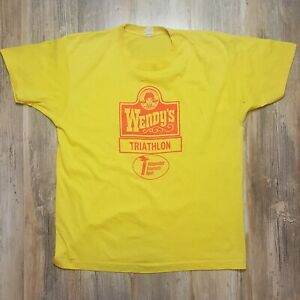 Vintage-WENDYS-TRIATHLON-Screen-Stars-SHIRT-Men-039-s-XL-Single-Stitch-Fast-Food-80s