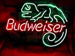 LIZARD-Neon-Sign-Bud-Beer-Light-Pub-Bar-Vintage-Night-Club-Patio-Man-Cave