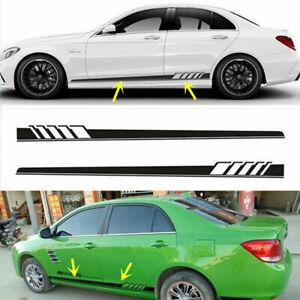 Side-Skirt-Car-Sticker-Racing-Stripe-Graphic-Decal-DIY-Vinyl-225-11-5CM-Black