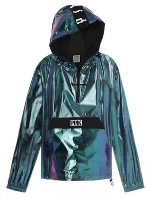 Victoria/'s Secret PINK Anorak HOODIE Jacket Metallic Chrome XS S Small FOIL NEW