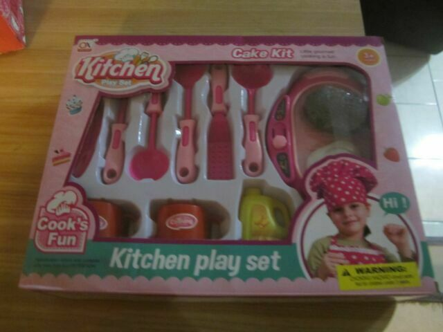 Kitchen Play Set With Food And Hot Plate Utensils Mugs Pink Toy Children For Sale Online Ebay