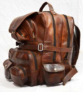 Real genuine men/'s leather backpack bag satchel briefcase laptop brown vintage
