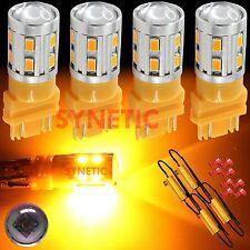 4X 3157 High Power CREE Amber/Yellow Turn Signal LED Light Bulbs + 4 Resistors