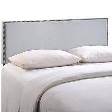 Region King Nailhead Upholstered Headboard  Sky Gray