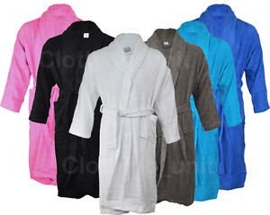Mens-Ladies-100-Cotton-Shawl-Collar-Towel-Terry-Towelling-Bathrobe-Robe-Gown