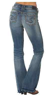 Silver Jeans Denim Aiko Mid Rise Flare 26 x 32 Med Wash L83819SPI262 $89.00