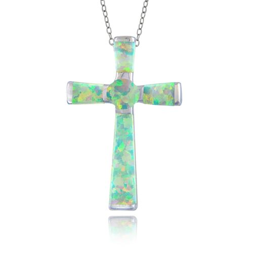 Sterling Silver Created White Opal Cross Necklace