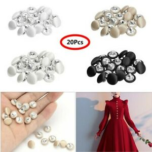 20pcs Black Round Half Pearl Shank Buttons Sew on 10mm