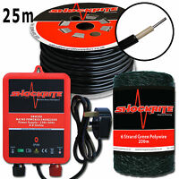 Electric Fence Energiser Mains Srm306 0.6j + 25m Leadout Cable 200m Green Wire