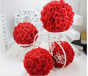Red Rose Flower Ball Pomander Wedding decoratin Ball Kissing Ball 16 ...