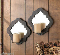 2 brown wood Artisanal Sconce WALL mount Moroccan country mirror candle holder
