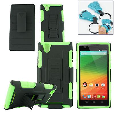 Phone Case Gorilla Holster Armor Holster Kickstand Cover Green For ZTE ZMAX Z970