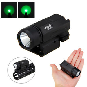 Verde-Blanco-LED-Luz-de-pistola-Linterna-tactica-para-montaje-en-carril-20mm-Nuevo