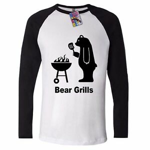 0cafcffb5 Bear LONG SLEEVE T SHIRT Grilling Grills Funny Grylls COOL BBQ ...