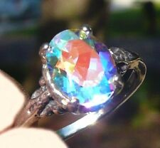 NEW Silver RING 9x7mm 2.92ct VVS+ Rainbow Luster Moonglow Azotic TOPAZ