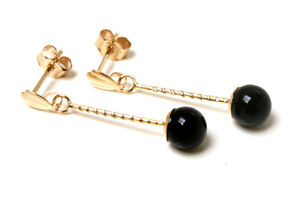 9ct-Gold-Black-Onyx-ball-drop-Earrings-Gift-Boxed-Made-in-UK-Christmas-Gift