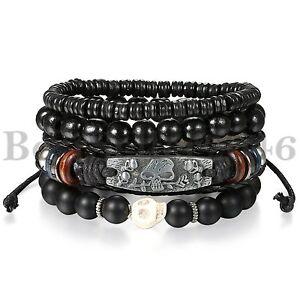 Black-Skull-Leather-Men-Women-Tribal-Beaded-Cuff-Wristband-Bracelet-4pcs-Set