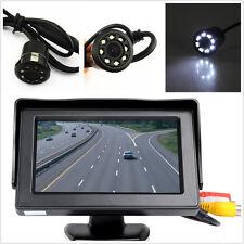 """Car Rear View Backup 4.3"""" Display Monitor+8LED Night Vision HD Camera &Drill Kit"""