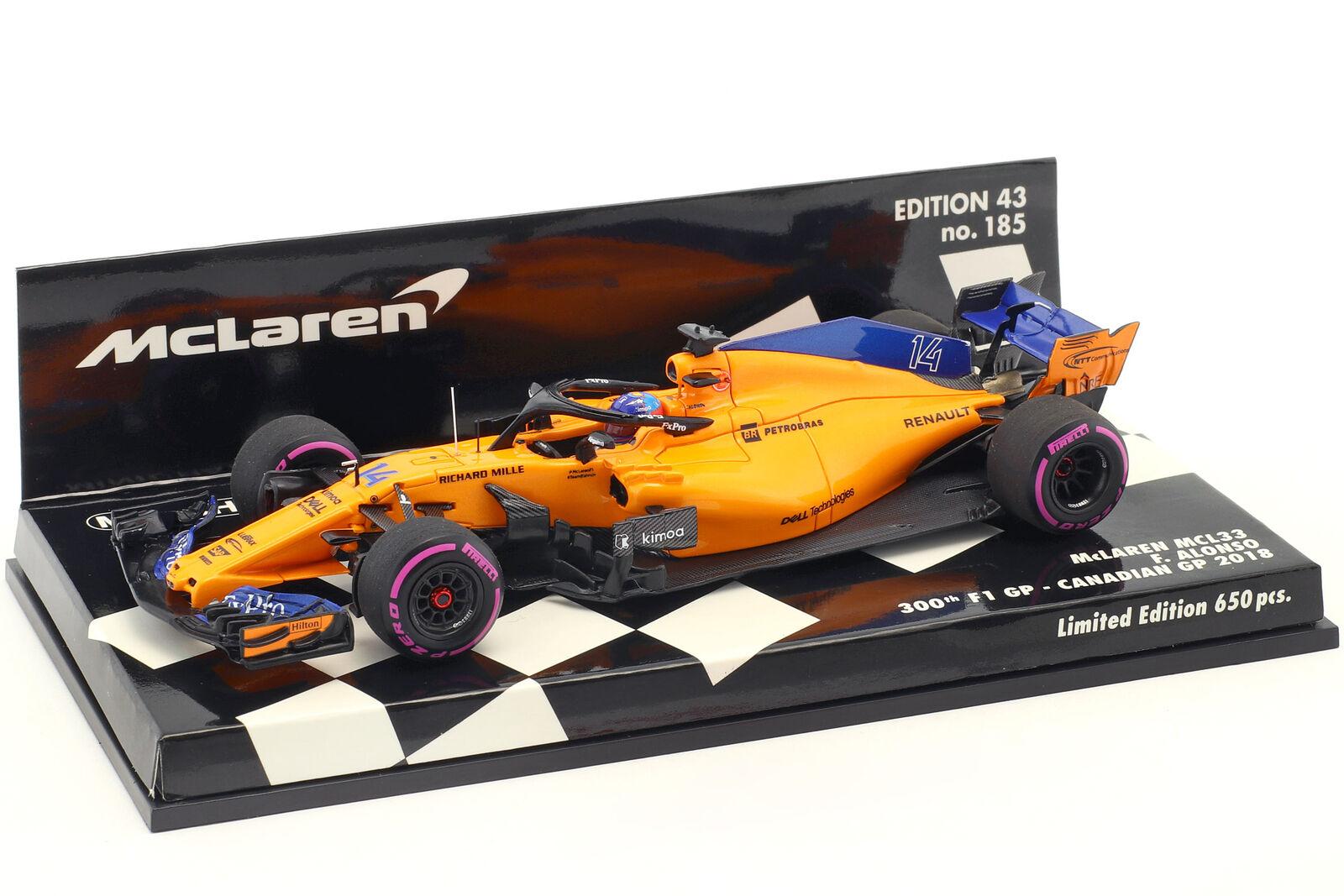 F. Alonso McLaren MCL33 th F1 GP Kanada Formel 1 2018 1 43 Minichamps