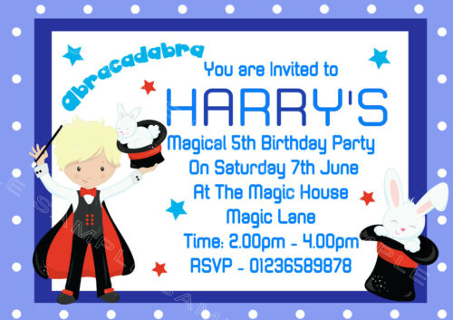 Thank you s Personalised Magic-Magician-Entertainer Birthday Party Invitations