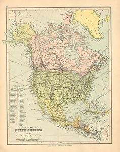 Details about 1902 MAP ~ NORTH AMERICA ~ CANADA UNITED STATES MEXICO CUBA  JAMAICA